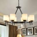 Opal Glass Cylinder Pendant Light Kit Traditional 3/6/10 Lights Dining Room Chandelier in Black/Gold