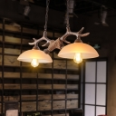 Rustic Bare Branch Island Lamp 2 Lights Wooden Pendant Light in Brown with Bowl Beige Glass Shade
