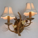 Rust 1/2-Light Wall Lighting Countryside Fabric Scalloped Wall Mount Lamp for Kitchen