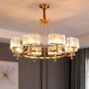 Mid-Century Circular Chandelier Crystal Block 3/6/8-Bulb Living Room Hanging Pendant Light in Gold