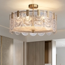 Crystal 1/2-Tiered Scalloped Ceiling Light Postmodern 6/9/10-Bulb Gold Pendant Chandelier, 16
