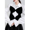 Unique Women's Shirt Contrast Panel Front Bow Tie Button Fly Point Collar Long Puff Sleeves Regular Fitted Shirt