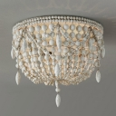 Distressed White Wood Ceiling Lamp Small/Medium/Large Beaded Bowl Shaped 3/5/6 Lights Country Style Flush Mount Light