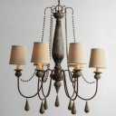 Cone Shade Fabric Chandelier French Country 6-Head Dining Room Drop Lamp with Swooping Arm in Distressed Wood