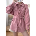 Unique Womens Blouse Solid Color Corduroy Flap Chest Pocket Button Closure Long-sleeved Turn-down Collar Regular Fitted Blouse Shirt with Belt