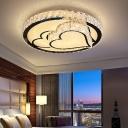 Clear Crystal Embedded LED Ceiling Lamp Modern White Mushroom/Love Heart/Leaf Pattern Bedroom Flush Mount