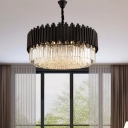 8/12/16 Bulbs Chandelier Pendant Modernist Layered Crystal Prism Small/Medium/Large Hanging Light in Black