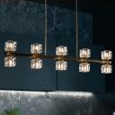 5/10-Light Crystal Cube Hanging Lamp Minimalist Gold Linear Kitchen Island Light Fixture