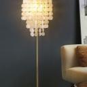 Gold 3 Lights Floor Lamp Coastal Shell Layer Standing Floor Light for Living Room