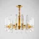 K9 Crystal Rod Brass Chandelier Radial 8 Heads Postmodern Ceiling Pendant Lamp for Restaurant