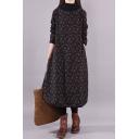 Elegant Women's Swing Dress All over Floral Print Turtleneck Long Sleeves Split Side Relaxed Fit Midi Swing Dress
