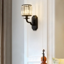 1-Light Wall Lamp Retro Living Room Wall Sconce with Cylinder Crystal Shade in Black