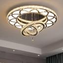 Clear Flower/Round Flushmount Modernist Faceted Crystal Small/Medium/Large LED Flush Mount Ceiling Light for Bedroom
