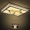 Crystal Rhombus/Oval/Petal Flush Ceiling Light Contemporary Clear Rectangle LED Flush-Mount Lamp for Living Room