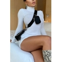 Edgy Girls Solid Color Ribbed Long Sleeve High Rise Short Sheath Dress
