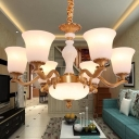 6 Heads Hanging Pendant Traditional Hotel Chandelier Light with Trumpet Opal Frosted Glass Shade in Brass