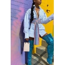 Elegant Women's Blouse Plaid Pattern Button Closure Turn-down Collar Long-sleeved Regular Fitted Shirt Blouse with Belt
