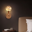 Amber/Smoke Grey Glass Ball Sconce Simple Black/Gold Starry LED Wall Mounted Light Fixture for Bedroom