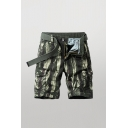 Cool Mens Shorts Color Block Zip Fly Button Detail Knee Length Straight Fit Cargo Shorts with Flap Pockets