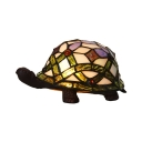 Stained Art Glass Turtle Table Lamp Tiffany Style 1-Light White Night Stand Light