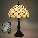 Hand-Crafted Glass Green/Gold Night Lamp Lattice 1 Bulb Tiffany Table Light with Jewel