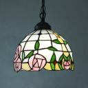 Bowl Rose-Patterned Glass Pendant Lamp Tiffany 1-Head White Suspended Lighting Fixture, 8