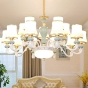 6/8/10-Light Milk Glass Chandelier Traditional Light Blue Flared Living Room Hanging Ceiling Light