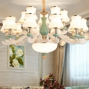 Frosted Glass Mint Green and White Drop Lamp Flared 3/6/8 Lights Traditional Hanging Chandelier
