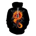 Leisure Mens Hoodie Graphic Dragon Skull 3D Pattern Front Pocket Drawstring Hooded Sweatshirt