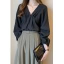Womens Stylish Plain Black Lantern Long Sleeve V Neck Button Down Short Fitted Shirt