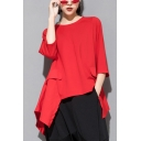 Womens Tee Top Solid Color 3/4 Sleeve Crew Neck Asymmetric Hem Relaxed Fit Cool T Shirt