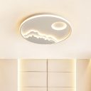 White Landscape Design Flush Mount Contemporary Acrylic LED Circle Ceiling Light for Bedroom, 21