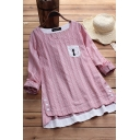 Fancy Women's Blouse Stripe Pattern Chest Pocket Button Detail Round Neck Long-sleeved Relaxed Fit Blouse