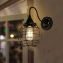 Iron Sphere Cage Wall Lamp Industrial-Style 1 Head Dining Room Gooseneck Wall Mount Lighting in Black/Rust