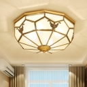 Bowl Frosted Panel Glass Ceiling Lighting Traditional 4/6-Head Corridor Chandelier in Gold, Flushmount/Downrod