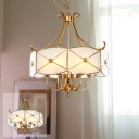 6 Bulbs Faceted Scalloped Pendant Light Antique Gold Opal-White Glass Chandelier Lighting over Table