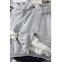 Leisure Women's Hoodie Solid Color Front Pocket Brushed Inner Long Sleeves Relaxed Fit Drawstring Hooded Sweatshirt