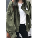 Trendy Women's Jacket Solid Color Label Zip Closure Flap Pocket Long Sleeves Stand Collar Relaxed Fit Jacket