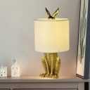 Artistic Single Bulb Night Light Gold/Silver/White Masked Rabbit Table Lighting with Fabric Shade