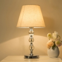K9 Crystal Gourd Nightstand Light Modern 1 Bulb Table Lamp with Tapered Fabric Shade in White/Burgundy/Orange