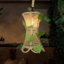 Flared Natural Rope Drop Pendant Rustic 1-Light Bistro Plant Suspended Lighting Fixture in Beige