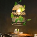 1 Head Elongated Dome Pendant Light Fixture Countryside Beige Rope Ceiling Lamp with Plant Decor