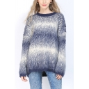 Popular Womens Sweater Ombre Long Sleeve Crew Neck Relaxed Fit Knit Pullover Sweater Top