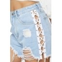 Fashion Womens Shorts Plain Mid Waist Lace-up Sides Ripped Raw Edge Relaxed Denim Shorts