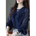 Unique Women's Shirt Blouse Lace up Front Ruffles Design Long Bishop Sleeves Regular Fitted Shirt Blouse