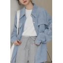 Trendy Women's Jacket Solid Color Corduroy Flap Chest Pocket Zip Detail Long Sleeves Regular Fitted Jacket
