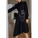 Leisure Women's A-Line Dress Solid Color Button detail Tiered Turn-down Collar Long Puff Sleeves Asymmetrical Hem A-Line Dress