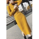 Womens Elegant Dress Solid Color Ribbed Long Sleeve High Neck Belted Slit Side Mid Sheath Dress
