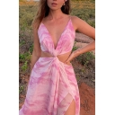 Unique Women's Strap Dress Tie Dye Pattern Deep V Neck Hollow out Twist Front Backless Drawstring High Split Maxi Dress