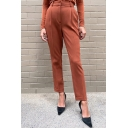 Fancy Women's Pants Solid Color High Rise Ankle Length Tapered Pants